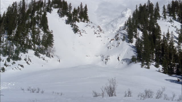 An avalanche crashes down a mountainside, toward and over the camera.