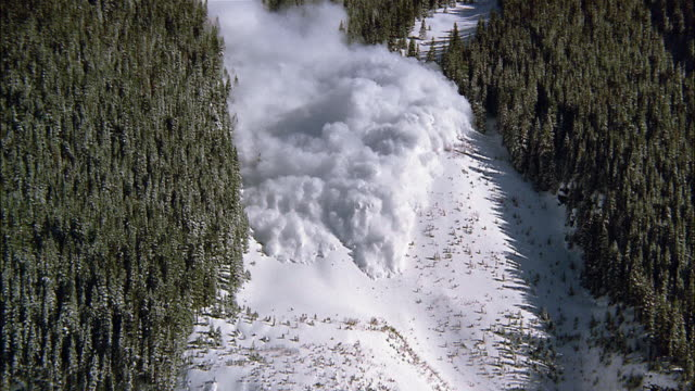 An avalanche occurs between lines of trees and over a cliff in the San Juan Mountains in Colorado.