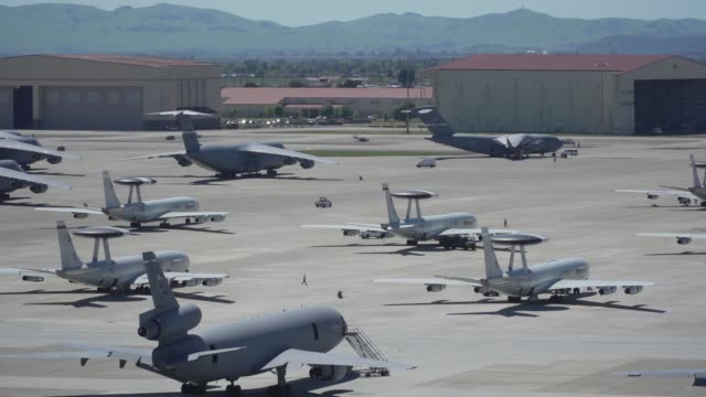 an e-3 sentry airborne warning and control system from tinker air force base, oklahoma, arrives april 17 at travis air force base, california. - air force stock videos & royalty-free footage