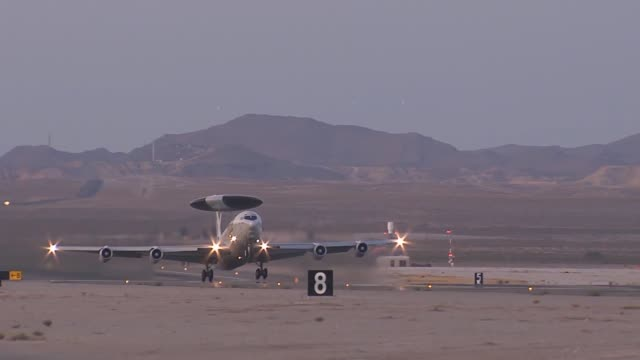an e3 sentry awacs from tinker air force base okla takes off during red flag 143 jul 18 2014 at nellis afb nev red flag gives aircrews and air... - afterburner stock videos and b-roll footage