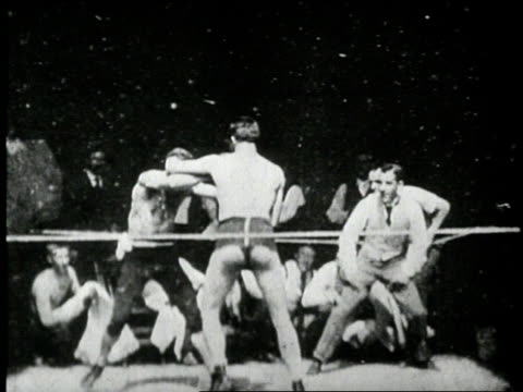 an early thomas edison film features jim corbett and peter courtney in a boxing match. - boxing sport stock videos & royalty-free footage