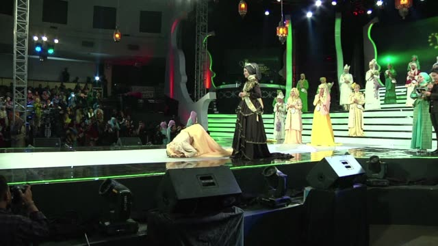 an eclectic mix of women from around the world will compete in the final of a pageant exclusively for muslims in indonesia friday seen as a riposte... - beauty pageant stock videos and b-roll footage