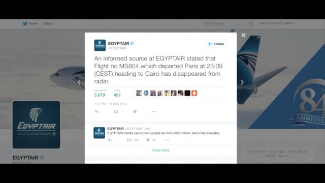 an egyptair flight from paris to cairo disappears from radar the airline says on its verified twitter feed - verification stock videos & royalty-free footage