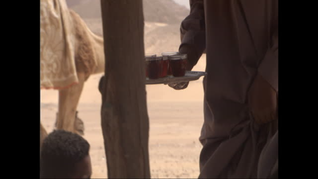 an egyptian man serves drinks on a serving tray to robed men sitting under a tent in the desert. - serving tray stock videos and b-roll footage