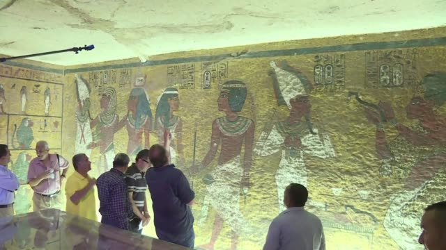an egyptian panel of experts has approved using radar to search for a hidden chamber in king tutankhamuns tomb which may be the burial place of queen... - thursday stock videos and b-roll footage
