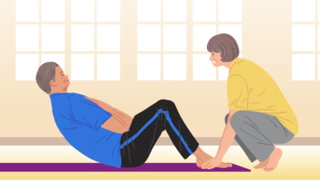 stockvideo's en b-roll-footage met an elderly couple doing crunches - oefeningen met lichaamsgewicht
