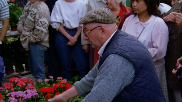 An elderly couple sort flowers at the Columbia Road Flower Mart. Available in HD.