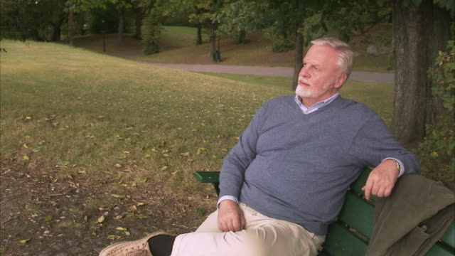 an elderly man sitting on a bench sweden. - solo un uomo anziano video stock e b–roll