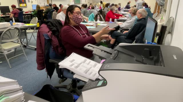 an election worker scans ballots at the lansing city clerk's office on election night on november 03, 2020 in lansing, michigan. president trump... - joe 03 stock videos & royalty-free footage