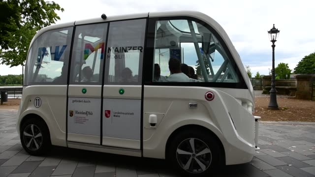 An electric autonomous bus drives on August 14 2018 in Mainz Germany Called EMMA the bus is made by Navya and will transport passengers for free...