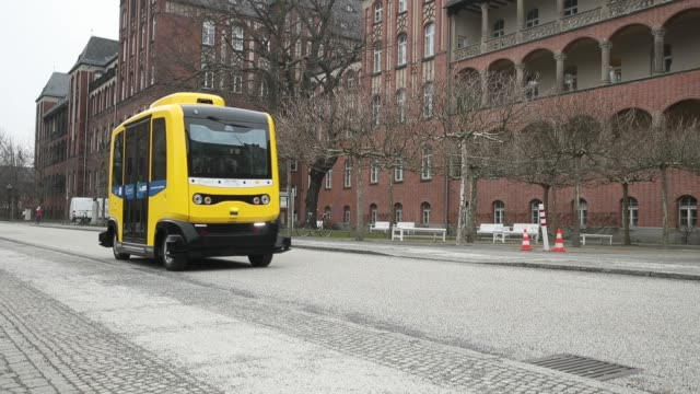 An electric minibus with autonomous driving ability is displayed at the Charite hospital and medical campus during a press event on March 26 2018 in...