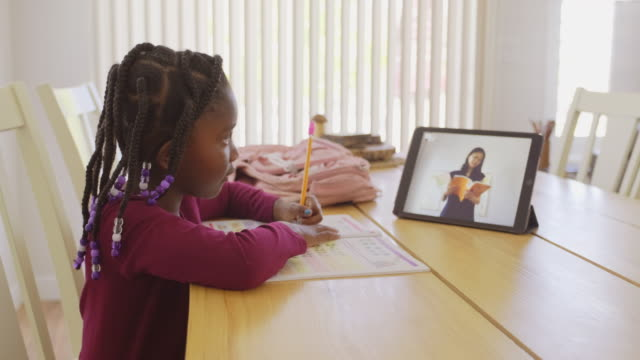 an elementary school student working at home - kids stock videos & royalty-free footage