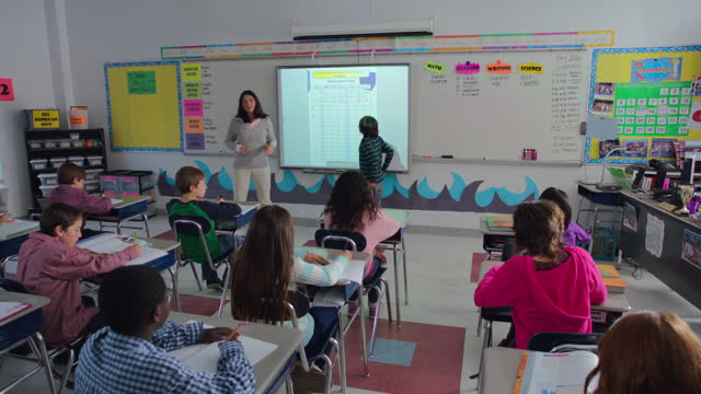 vídeos y material grabado en eventos de stock de an elementary teacher explains a chart to her class using a smart board. - wilmington carolina del norte
