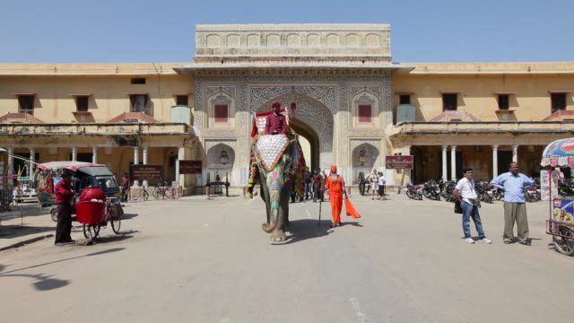 An elephant decorated in ceremonial dress walks outside the Hawa Mahal at the Palace of the Winds.