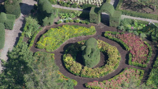 AERIAL An Elephant themed topiary in the garden of Green Animals Estate / Rhode Island, United States