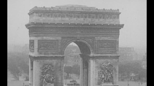 An elevated view of the Arc de Triomphe in Paris