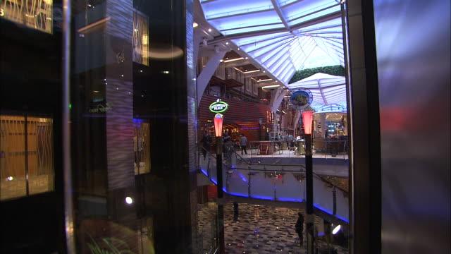 vidéos et rushes de an elevator ascends to the top of the atrium of a cruise ship. - cour intérieure