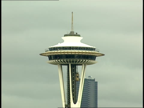 an elevator descends the seattle space needle. - space needle stock videos & royalty-free footage