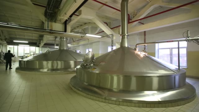 an employee inspects inside a beer brewing vat in the brew house at the heineken nv brewery in saint petersburg russia on wednesday nov 18 2015 - vat stock videos & royalty-free footage