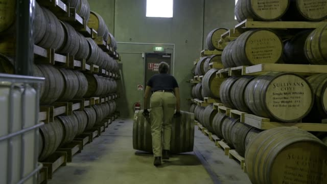 an employee rolls a cask of single malt whisky at the sullivans cove whisky distillery in hobart tasmania australia on thursday nov 11 distilled... - distillery still stock videos & royalty-free footage
