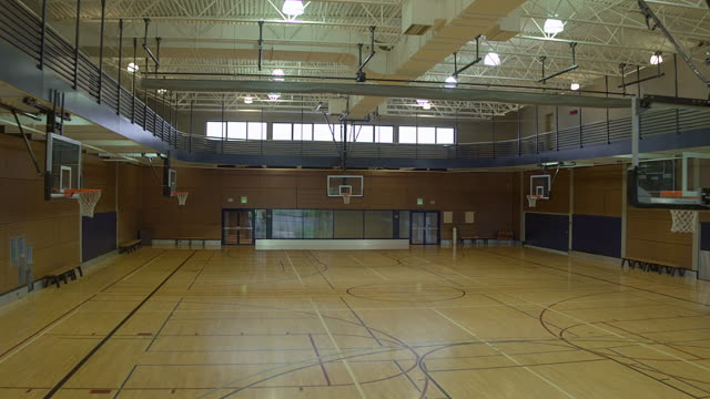 An empty basketball court during daytime