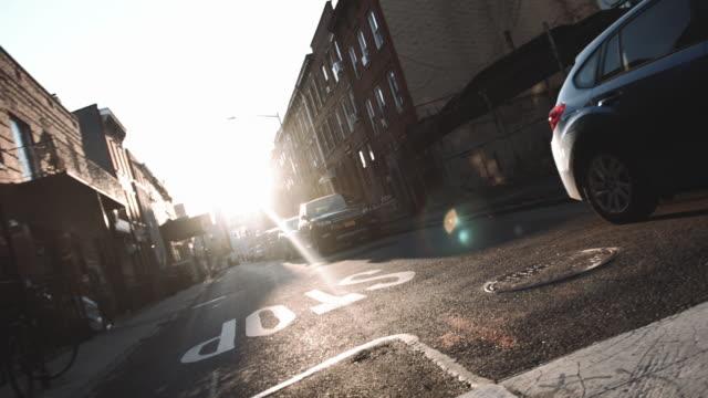 An empty Brooklyn side street at sunrise