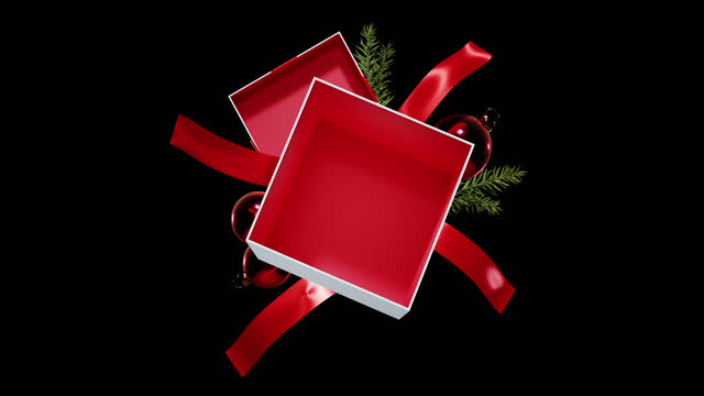 an empty christmas gift box - with alpha channel - christmas decoration stock videos & royalty-free footage
