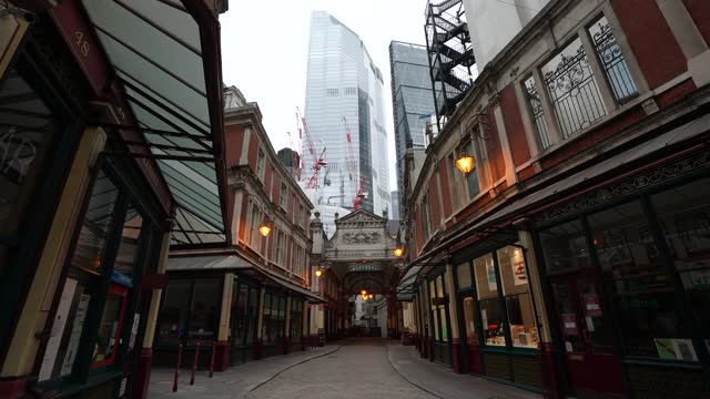 an empty leadenhall market playing birdsongs, the installation is to boost the mood of the public during england's third lockdown at on january 11,... - vitality stock videos & royalty-free footage