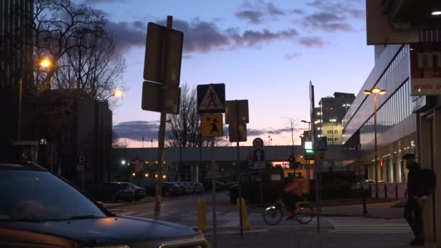 an empty street is seen in central warsaw poland on march 14 2020 poland is closing it's borders to foreigners starting sunday the decision comes two... - warschau stock-videos und b-roll-filmmaterial