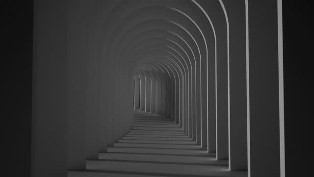an endless black-and-white tunnel of side-by-side arches - diminishing perspective stock videos & royalty-free footage