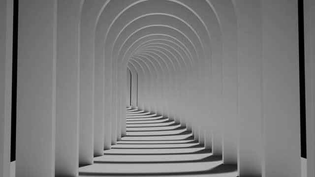 en ändlös svartvit tunnel av sida vid sida-bågar - korridor bildbanksvideor och videomaterial från bakom kulisserna
