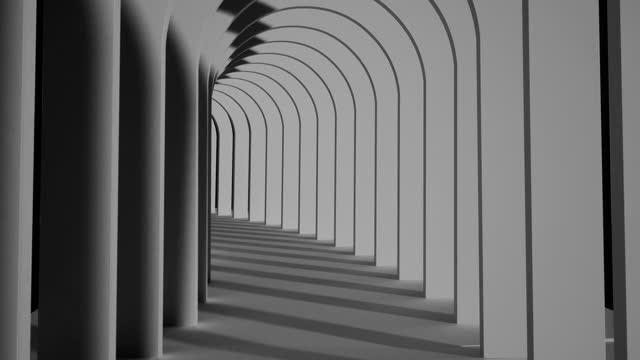 stockvideo's en b-roll-footage met een eindeloze zwart-witte tunnel van zij-aan-zij bogen - architecture