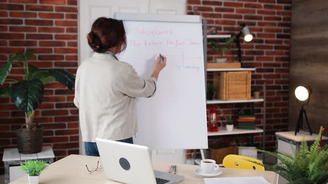 an english teacher holds an online class for her students in her house. she tries to pass on her knowledge to students in this way. he writes on the board and explains to his students - one mid adult woman only stock videos & royalty-free footage