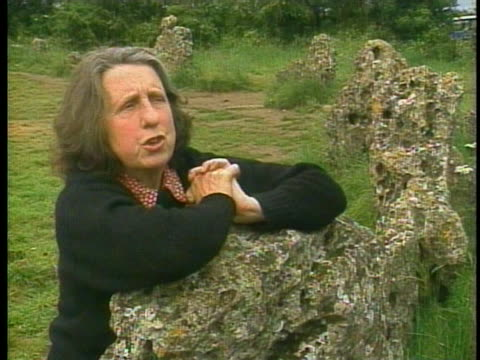 an english woman discusses the tradition of witchcraft at rollright stone circle in long compton. - new age stock videos & royalty-free footage