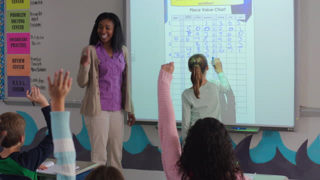 an enthusiastic teacher polls her class in reference to a chart on the smart board. - interactive whiteboard stock videos & royalty-free footage