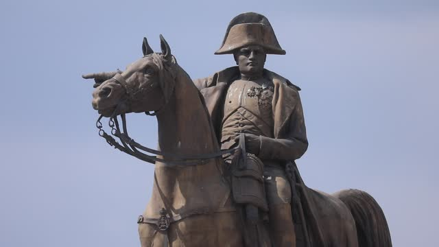 an equestrian statue of napoleon i, a bronze work built in 1867 and created by charles-pierre-victor pajol to commemorate one of the last victories... - french revolution stock videos & royalty-free footage