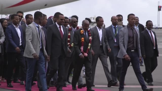an eritrean government delegation arrives in addis ababa for a historic visit designed to put an end to the war and decades of hostility between the... - horn of africa stock videos & royalty-free footage
