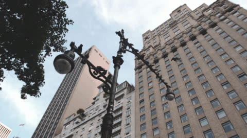 an establishing shot of pigeons perched on a new york city lamp post. - b roll stock videos & royalty-free footage