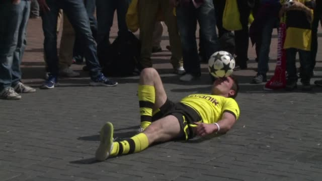 An estimated 180000 German football fans swarmed into London on Saturday as anticipation grew ahead of the first ever all Bundesliga Champions League...