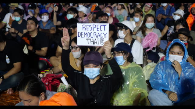 an estimated 30,000 anti-government protesters gathered close to thailand's royal palace on sanam luang field in a huge rally calling for pm prayut... - rebellion stock videos & royalty-free footage