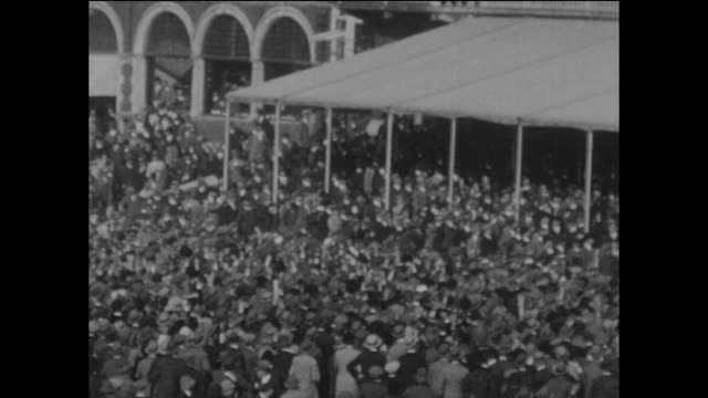 an excited crowd gather in front of the pavilion to cheer england's victory in the 5th test match when they bowled australia out for 125 in their... - inning stock videos & royalty-free footage