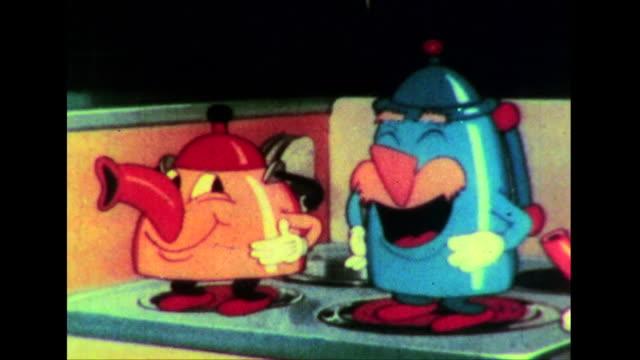 vídeos de stock e filmes b-roll de an excited young girl watches animated tea kettles and an animated coffee pot sing - chaleira de chá