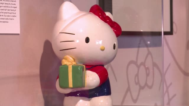 an exhibit at the japanese american national museum in los angeles celebrates the 40th anniversary of hello kitty with hundreds of objects and... - hello kitty stock videos and b-roll footage