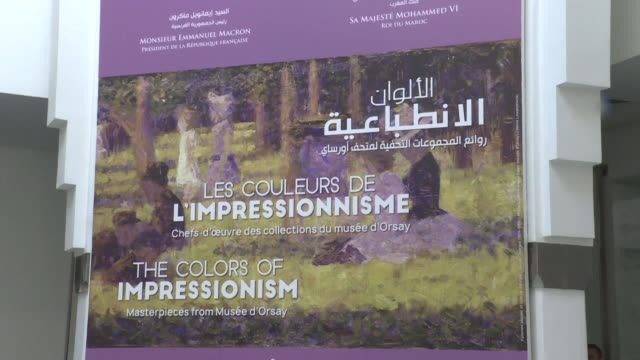 an exhibition bringing together 42 impressionist masterpieces by famous names such as monet cezanne and renoir exceptionally on loan from the musee... - impressionism stock videos & royalty-free footage