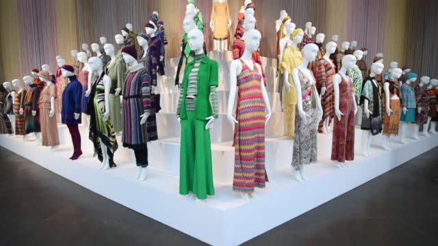 an exhibition dedicated to the work of italian fashion designers ottavio and rosita missoni missoni l'arte il colore will open on sunday in gallarate - missoni stock videos & royalty-free footage