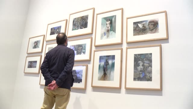 an exhibition honouring enki bilal opens in brittany, featuring around 250 works by the french comic artist, some unpublished. . entre réalisme et... - scriptwriter stock videos & royalty-free footage
