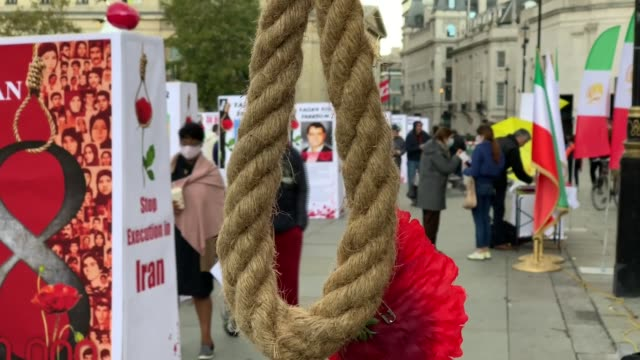an exhibition took place in london against executions in iran on oct. 10 world day against the death penalty. protesters opened an exhibition in... - execution stock videos & royalty-free footage