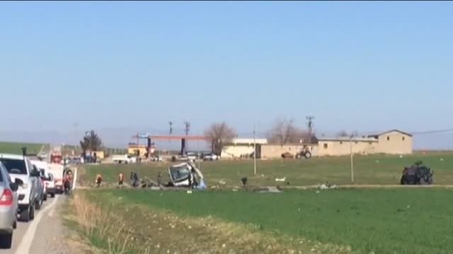 An explosion hit a military convoy on a highway linking Diyarbakir and Bingol southeast Turkey on February 18 2016 a day after a terrorist attack on...