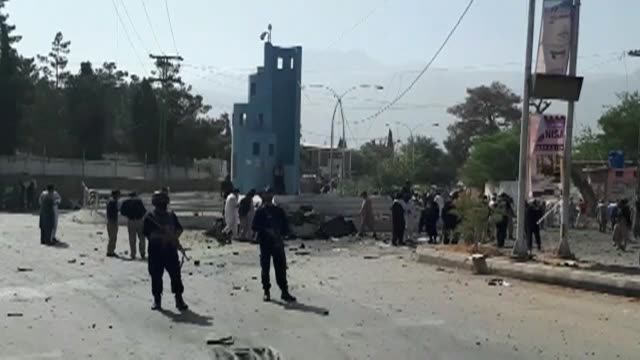an explosion in front of the police chief's office kills several people in pakistan's southwestern quetta city the capital of the mineral rich... - police chief stock videos and b-roll footage