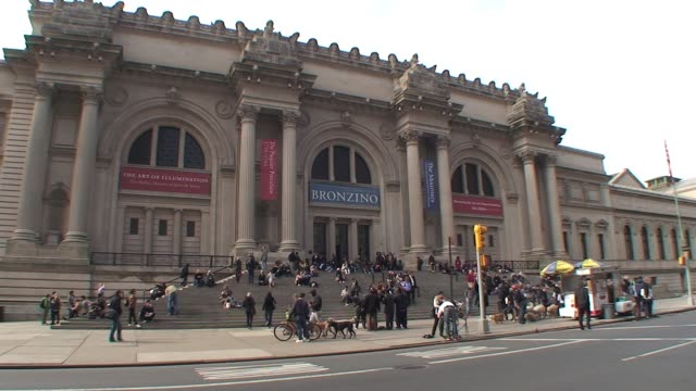 an exterior shot of the metropolitan museum of art in new york city metropolitan museum of art new york city exterior on january 02 2010 - salmini stock videos & royalty-free footage